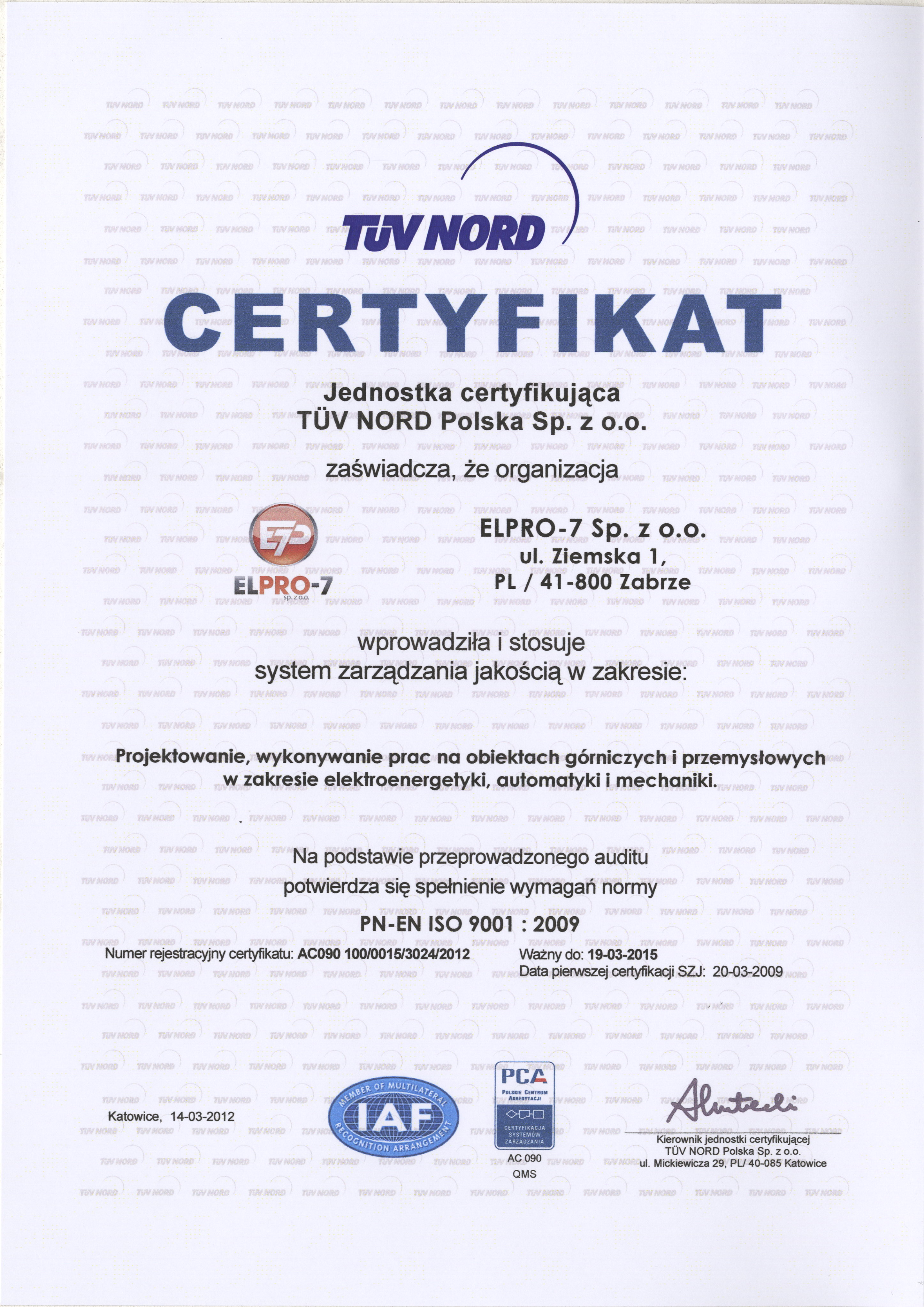 Quality Assurance Certificate Elpro 7
